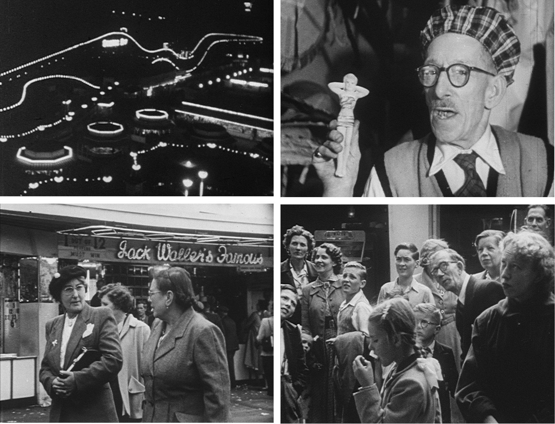 Vier Szenen aus dem Kurzfilm O Dreamland, der in einem englischen Vergnügungspark gedreht wurde; zu sehen sind Beleuchtung bei Nacht, ein Verkäufer mit einer anzüglichen Figur in der Hand sowie interessierte Gäste.