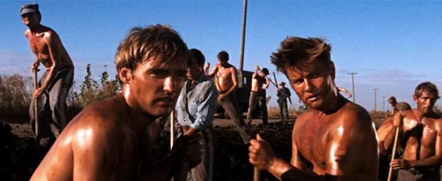 der junge Dennis Hopper als einer der Gefangenen bei der Straßenarbeit, Copyright: Warner