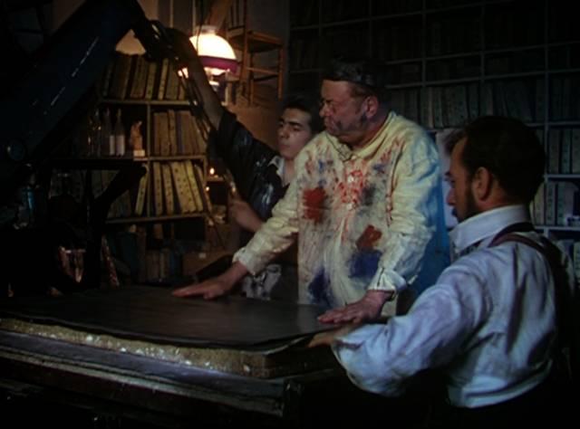 Toulouse-Lautrec mit seinem Plakat beim Buchdrucker