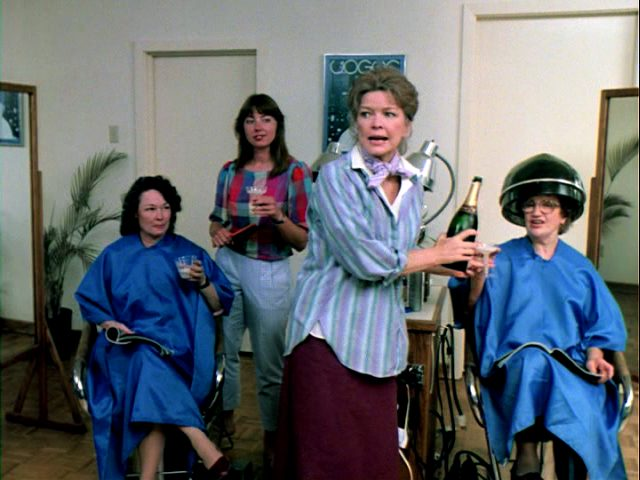 Kate (Ellen Burstyn) schenkt im Frisiersalon Sekt aus, Copyright: The Yorkin Company
