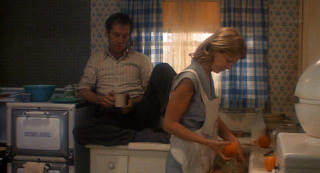 Woody Guthrie (David Carradine) mit seiner Frau Mary (Melinda Dillon) in der Küche ihres neuen Hauses in Kalifornien