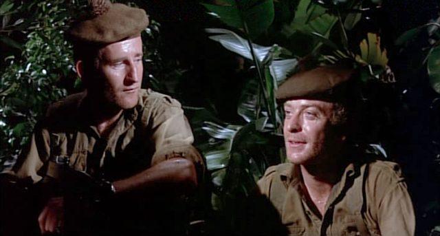 Private Tosh Hearne (Michael Caine) sitzt mit einem Kameraden nachts im Dschungelgebüsch
