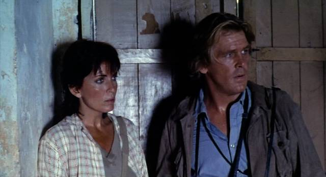 "Joanna Cassidy und Nick Nolte als Journalisten in ""Under Fire"""