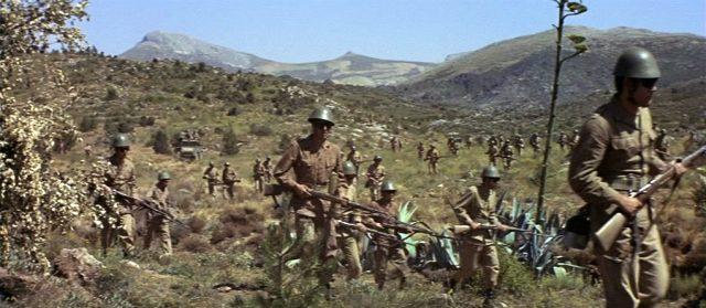 eine große Gruppe Soldaten durchkämmt die Landschaft