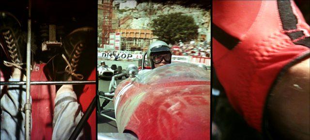 ein Dreifach-Splitscreen zeigt Bedieung der Pedale, einen Fahrer in einer Kurve und einen Handschuh