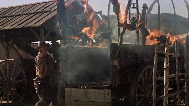 brennender Planwagen während der Schießerei am O.K. Corral