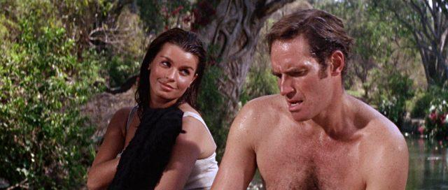 Teresa Santiago (gespielt von Senta Berger) und Major Amos Dundee (gespielt von Charlton Heston) sitzen bei einem privaten Ausflug in freier Natur nebeneinander.