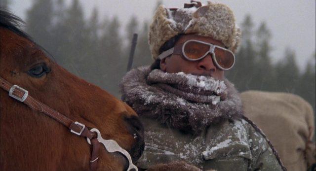 Nahaufnahme von Sundog in Winterbekleidung unterwegs mit seinem Pferd.