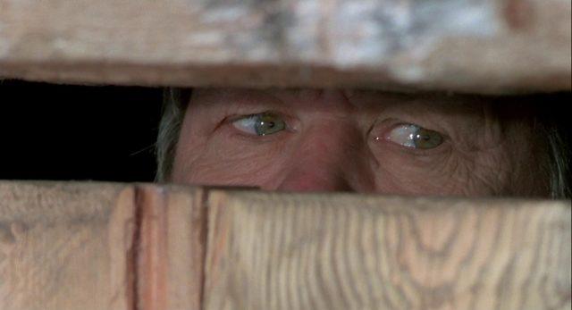 Nahaufnahme von Johnsons Augenpartie hinter einer Schießscharte.