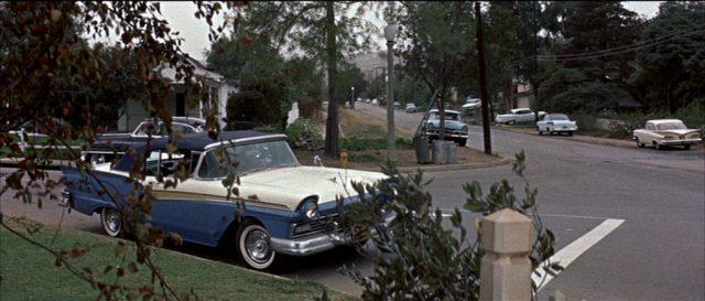 Blick in eine Straße mit Vorstadtflair; am Straßenrand parken vor fast jedem Haus Limousinen.