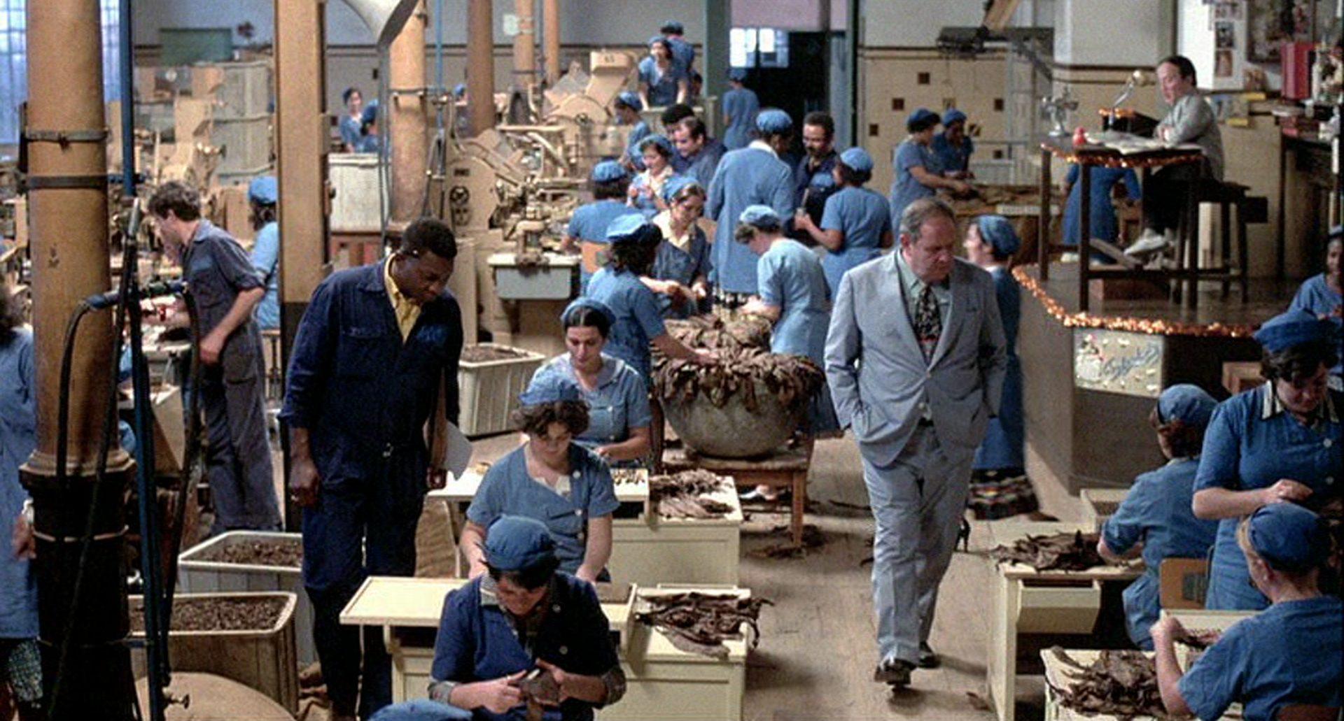 Jack Westons Geschäftsmann schreitet durch eine Fabrikhalle, in der zahlreiche Arbeiterinnen Zigarren drehen.