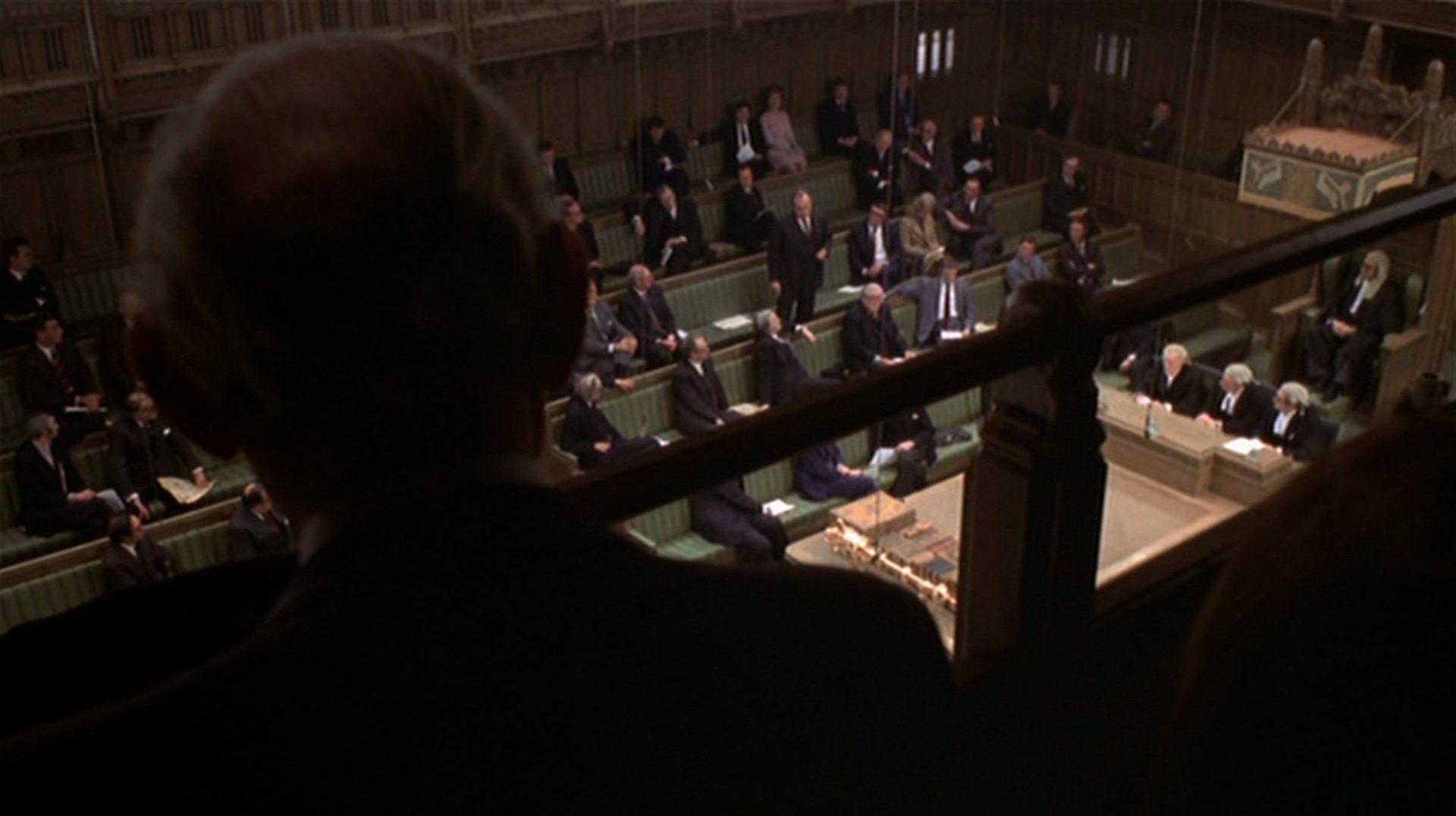 Blick von der Zuschauertribüne in den britischen Parlamentssaal.
